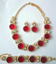 Beautiful Red Round Chunky Diamante Crystal Necklace, Bracelet and Earrings set