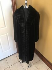 NWOT SAGA FURS ROYAL JET BLACK DYED SHEARED & LONG HAIRED MINK FUR COAT JACKET L