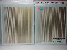 1:18 DECAL  Gold filets stripes 0.5 to 5 mm , two sheets - COLORADO -  3L050