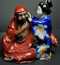 Daruma Statue Antique Kutani Japanese Meiji Art Pottery Figurine Zen Buddhism