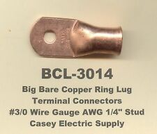 """10 Bare Battery COPPER Ring Terminal Connector #3/0 Gauge Wire 1/4"""" Stud MOLEX"""