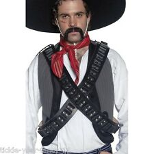 Men's Black Authentic Western Bandolier Bullet Belt Fancy Dress Cowboy Mexican