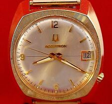 Bulova Accutron 218 date gold plated watch w/ matched Speidel USA stretch band