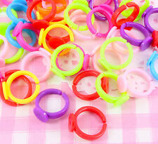 10 pcs Plastic Children's Multi Colour Ring Blanks Findings Jewellery Craft