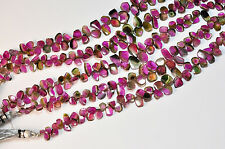 241CT Watermelon Tourmaline Slice Briolette Beads 40 inch strand total