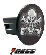 Universal Class 2  3 Tow Hitch Receiver Insert Cover Plug - SKULL AND BONES J4T
