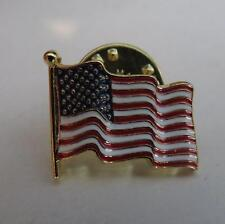 detailed wavy flag small American Flag lapel pins gold finish made in the USA