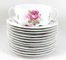 VINTAGE ROSENTHAL CHINA CREAM SOUP BOWLS PLATES WHITE PINK CLASSIC ROSE EMBOSSED