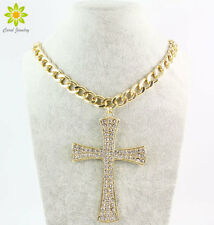 New Fashion Gold Metal Chunky Chain Clear Crystal Big Cross Pendant Necklace