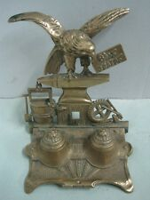 Antique ink well inkstand in bronze a eagle Happy Holidays written in Portuguese