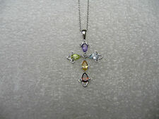 #382# .925 Sterling Silver Cross Mixed Color Pear CZ Gem Stone Pendant Necklace