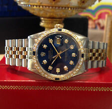 Mens ROLEX Oyster Perpetual Datejust Diamonds Yellow Gold Stainless Steel Watch