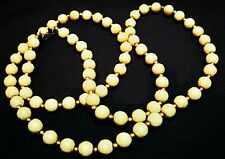 Vintage Signed MONET Natural Tan and Brass Beads U6