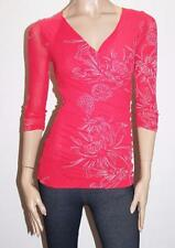 FLOWER Designer Red Floral Mesh Lace Ruched Top Size 10-S BNWT #SB80