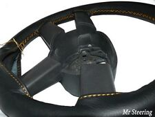 FOR AUDI A4 94-05 B5 B6 REAL BLACK LEATHER STEERING WHEEL COVER GOLD STITCHING
