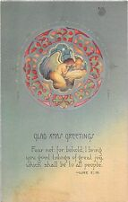 Old Art Deco Christmas Card of Angels With Christ Child & Bible Verse