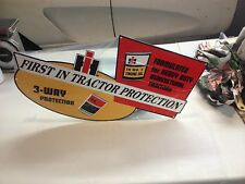 OLD STYLE INTERNATIONAL FARM TRACTOR DEALER OIL PROTECTION DIE CUT SIGN WILD