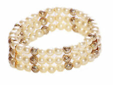 PEARLY & GLITTERY BEAD THREE TIERED STRETCHY BRACELET FOR AN ANGELIC TOUCH(ZX48)