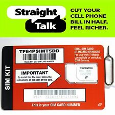 Straight Talk T-Mobile STANDARD or MICRO SIM CARD for GSM Unlocked Phones