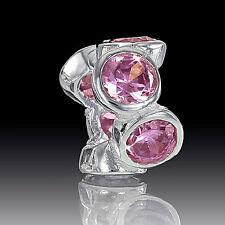 Materia Silber Beads Zirkonia rosa - 925 Silber Bead Armbänder Ketten #815
