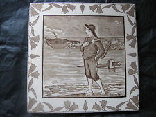 ANTIQUE VICTORIAN WEDGWOOD MONTHS OF THE YEAR SERIES TILE - NOVEMBER  -  c1890