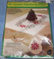 Paragon POINSETTIA Tablecloth 59x80 Stamped Cross Stitch Christmas Kit – Edged