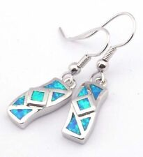 Silver Plated Blue Opal earrings new silver color dangle wire hooks  post