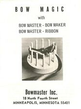 CRAFTS, VTG REPRO BOW MASTER/ MAGIC INSTRUCTIONS W FREE HOW TO MAKE BOW BOOKS,CD
