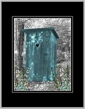 Teal Gray Outhouse Privy Photo Art Wall Decor Country Bathroom Picture Matted