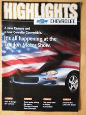 CHEVROLET Blazer Camaro & Corvette 1998 UK Mkt large format brochure