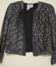 Womens Papell Boutique Bling Glitzy Beaded Evening Jacket Black w/ Gold Beading