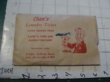 vintage TRICK/GAG/JOKE: 1950's/60's CHAN'S LAUNDRY TICKET trick in bag as shown