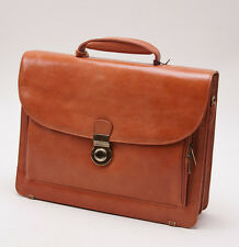 NWT $860 LA RANCIA Whiskey Tan Calf Leather Briefcase with Locked Flap Italy