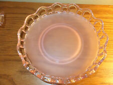 VINTAGE PINK DEPRESSION FROSTED GLASS CANDY/SERVING DISH ROUND CUT OUT DETAIL