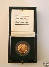 1984 ROYAL MINT ST GEORGE SOLID 22K GOLD PROOF HALF SOVEREIGN COIN BOX COA