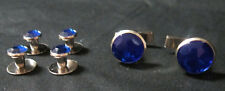 NEW Royal Blue Silver Tuxedo Cufflinks Shirt Studs Set Tux Cuff Links Buttons