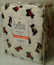 Home Accents 100% Cotton Flannel Queen Sheet Set * SCOTTY DOG * PRINT