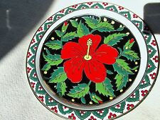 SUPERB OLYMPIA DISPLAY PLATE HANDPAINTED BOLD BLACK DESIGN RED HIBISCUS GILT RIM