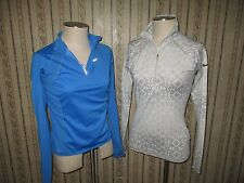 Lot of 2 women's NIKE PRO / NIKE FIT DRY polyester 1/4 zip pullovers - SIZE MED