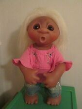 "Vintage 16"" Dam Girl Thumb Sucker Troll Jointed # 806 White Hair Dated 1979"