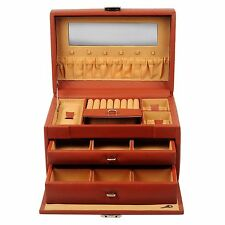 Genuine Leather Jewelry Box Ring Necklace Earring Organizer Display Case Mirror