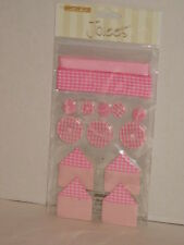Card Scrapbook Stickers Baby Girl Jolees Pink Gingham Sampler Ribbon Buttons NIP