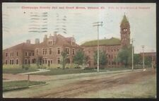 Postcard URBANA Illinois/IL  Champaign County Jail & Court House view 1907?
