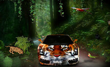"""perfact 36x24 oil painting handpainted on canvas""""a car in the forest"""" NO3726"""
