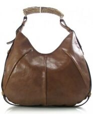 YSL YVES SAINT LAURENT Leather Mombasa Horn Bag Brown - Worn Few Times
