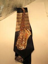 A. Rogers - GOLD SAXOPHONE - Novelty Tie - Black  Brown Music Notes Instrument