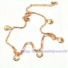 """8.7+2"""" REAL CUTE 18K ROSE GOLD GP ANKLET CHAIN CONCH PENDANT BRACELET SOLID m11"""
