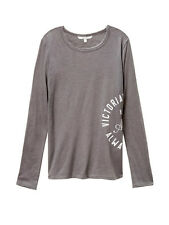 NWT VICTORIA'S SECRET WOMEN'S M GRAPHIC ANYTIME TEE LONG SLEEVE GRAY
