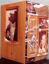 Large size Russian folding card Girl watches the bullfinch, cat at rear window