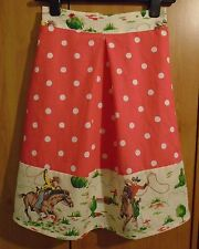 Cath Kidston Cowboy & Red Spot New Handmade Pleat-Front Lined Skirt, Size 8-10
